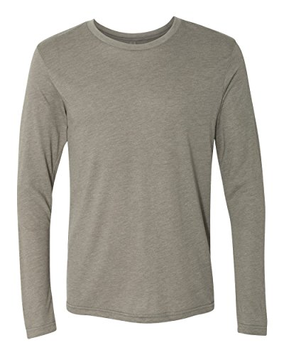 Bodek And Rhodes 50445525 6071 Next Level Mens Tri-Blend Long-Sleeve Crew Neck Tee Venetian Grey - Large Ring Blends