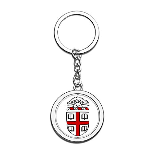 Brown University Badge Keychain 3D Crystal Creative Spinning Round Stainless Steel Keychain Travel City Souvenir Collection Key Chain Ring