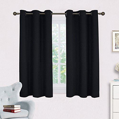 Blackout Draperies Window Curtain Panels - NICETOWN Autumn / Winter Thermal Insulated Solid Grommet Blackout Curtains / Drapes for Livingroom (Set of 2,42 Inch by 54 Inch,Black) (Patio Furniture Ideas Porch)