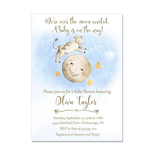 Nursery Rhyme Storybook Cow Jumped Over the Moon Baby Shower Invitations, Base price is for a set of 10 5x7 invitations with white envelopes