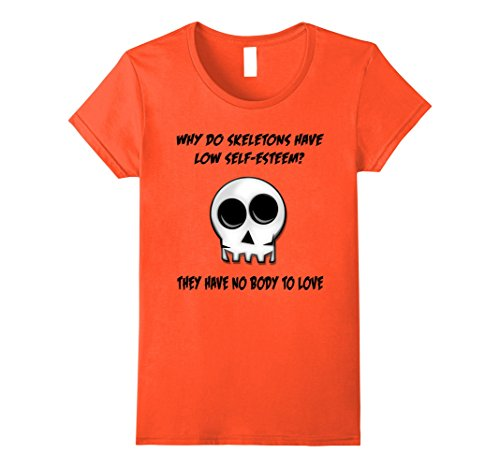 Womens Orange Skeleton No Body Halloween T-Shirt Bad Joke Funny Tee Large Orange