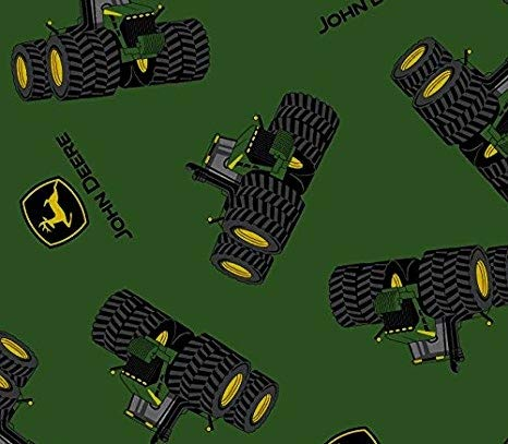 1 Yard - John Deere 8 Wheel Tractor & Logo Tossed on Green Cotton Fabric - Officially Licensed (Great for Quilting, Sewing, Craft Projects, Throw Blankets & More) 1 Yard ()