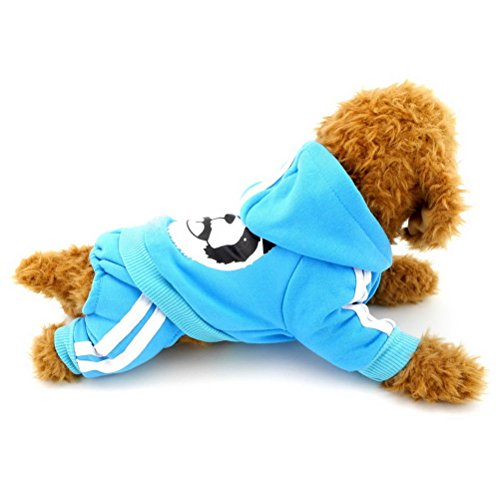 Zunea Small Dog Winter Clothes for Female Male Puppy Thick Sweatshirt Fleece Jumpsuit Warm Hoodies Tracksuit Panda Costume Outfits Clothes Apparel Blue XXL