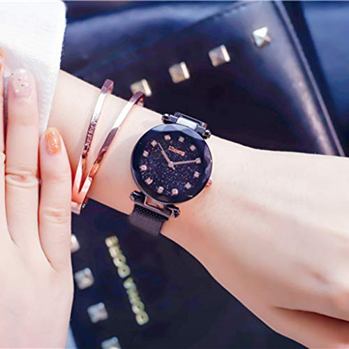 RONG HOME Fashion Watches Ladies Starry Watch Student Watch Quartz Watches Waterproof for Your Girlfriend/Wife/Mother for Starlight Dial,Black