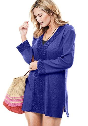 Roamans Women's Plus Size Crochet-Trimmed Gauze Swim Cover-up -