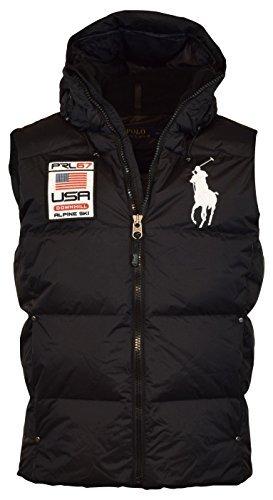 Polo Ralph Lauren Big Pony Alpine Ski Patch Puffer Vest (XXL, Polo Black) (Ralph Lauren Embroidered Vest)