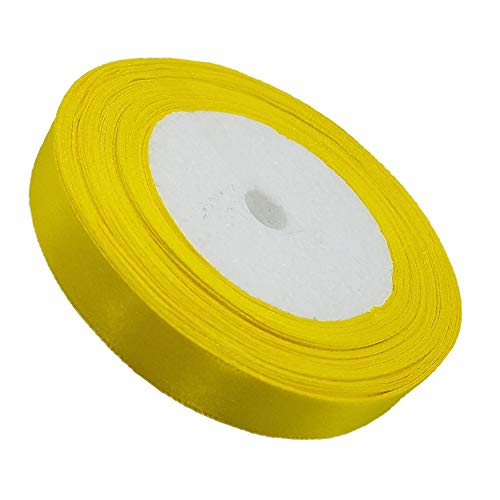 "Tianying Solid Satin Ribbon Roll Farbic Double Face for Gift Wrapping Partty Wedding (Yellow, Width 5/8""(15MM))"