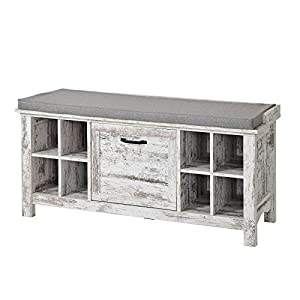 sobuy fsr38us vintage shabby chic rustic hallway storage bench shoe cabinet shoe rack with 8 open 1 storage rack and 1 padded cushion