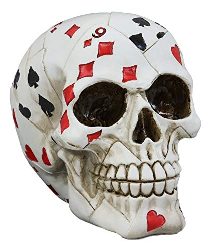Poker Figurine - Ebros Gift Gambling Poker Cards Casino Royale Skull Figurine Halloween Sugar Skulls Ossuary Macabre Collectible Sculpture Skeleton Head Cranium Skulls Decor Desktop Table Or Shelf Decorative