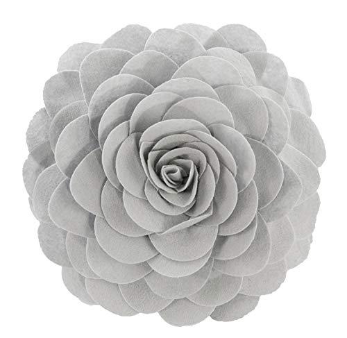 "Fennco Styles Eva's Flower Garden Decorative Throw Pillow Case - 13 inches Round (Grey, 13"" Case Only) from Fennco Styles"