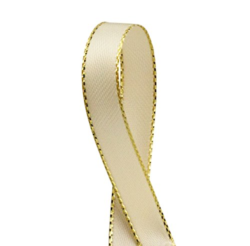Double Faced Satin Ribbon with Gold Edges, 3/8