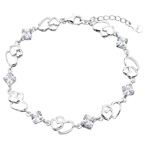 EleQueen Women's S925 Sterling Silver CZ Double Love Open Heart Tennis Bracelet, 6.9