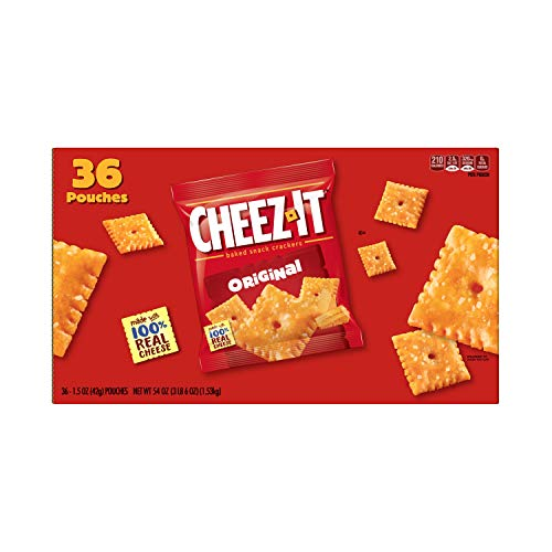 Cheez-It Original Cheese Crackers - School Lunch Food, Baked Snack, Single Serve,1.5 oz Bag (Pack of 36)