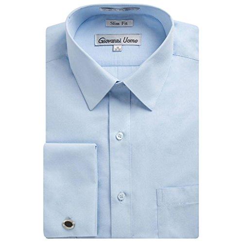 (Gentlemens Collection Men's 1921 Slim Fit French Cuff Dress Shirt ,Light Blue,17.5