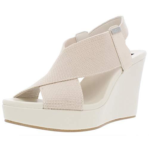 DKNY Womens Jamara Leather Slingback Wedge Sandals Beige 9.5 Medium (B,M)