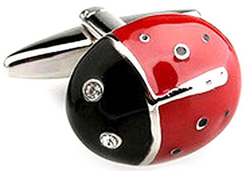 Ladybug Enamel Links (Mens Cufflinks Silver Tone Red Enamel Lady Bug Insect Cuff Links)