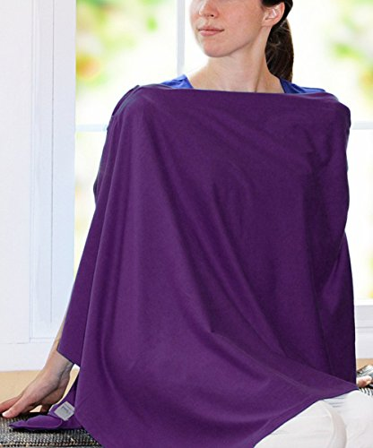 Nursing Cover - Full Coverage Poncho Style, 100% Cotton, Lightweight, Zipper Adjustment, Ideal for Nursing and Pumping (Autumn Purple)