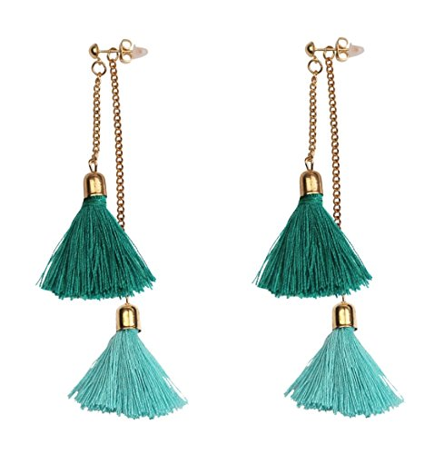Mina Gold Contrast Drop Fringe Tassel 3.5 Inch Drop Long Shoulder Duster Earring Removable Adjustable Festival Green Turquoise Ear Jacket