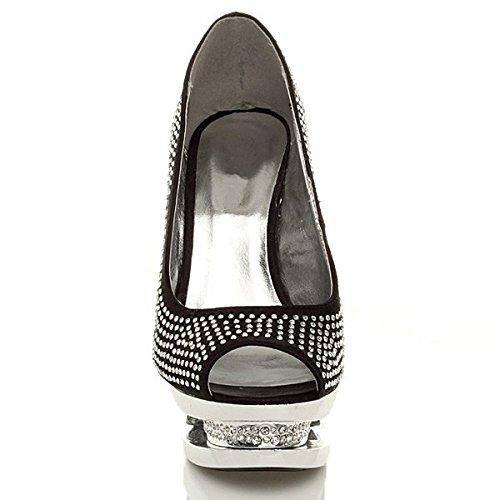 talon Noir strass Femmes pointure ouvert soirée haut sandales plateforme chaussures OfdnwZnzq