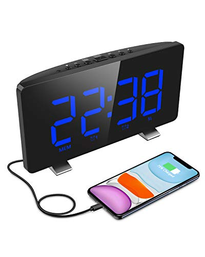 ELEGIANT digitale wekker, radio digitale wekkers, LED-display, automatische dimmer, 4 helderheid, dubbel alarm, 12/24…