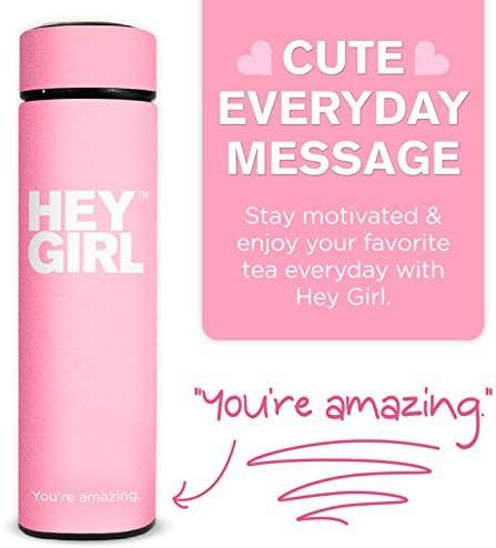 Hey Girl Tea Infuser Bottle - Travel Tea Tumbler Herbal Loose Leaf Tea , Tea Bags , Pink 15oz 450ml 3