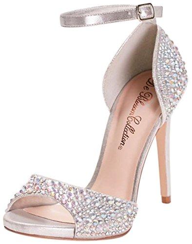 Davids Bridal Crystal Peep Toe Tacco Alto Con Cinturino Alla Caviglia Stile London11 Argento Metallizzato