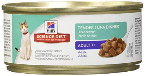 Senior Wet Cat Food, Adult 7+ Tender Tuna Dinner Chunks & Gravy Canned Cat Food, 5.5 Oz, 24 Pack ()