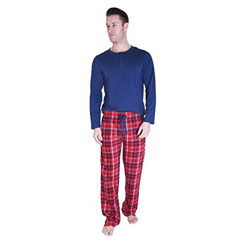 41Hvqje3raL CHEROKEE Men's 2 Piece Pajama Set, Tartan Plaid, XL