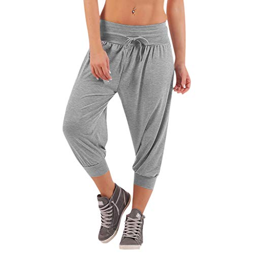 Sherostore ♡ Women's Solid Comfy Casual Stretch Pants Relaxed Fit Cargo Capris Sport Pants S -XXXXXL Gray