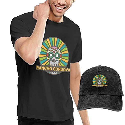 X-JUSEN Men's Tulsa Oklahoma Hip Hop Cute Skull T-Shirts Top with Cowboy Hat