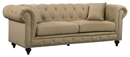 Meridian Furniture 662Sand-S Chesterfield Linen Upholstered Sofa with Classic Scroll Arms, Button Tufting, Silver Nailhead Trim, and Custom Solid Wood Legs, Sand (Upholstered Chesterfield Sofa)