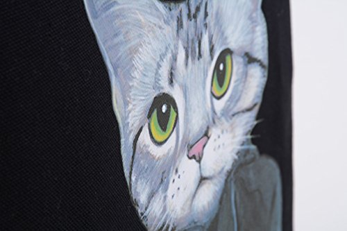 Canvas Tote Bag Cat Black Print (12.99 x 16.54inch) ASAPS by ASAPS (Image #4)
