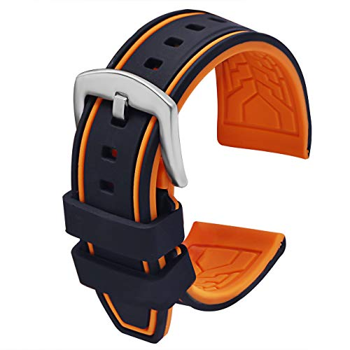 PBCODE Mens Silicone Watch Bands 22mm Watch Band Rubber Watch Straps Replacement Black Orange Silver Buckle for Diver Sport