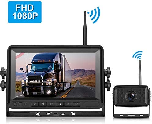 FHD 1080P Digital Wireless Backup Camera and Monitor Kit for RVs Motorhomes Trucks Trailers with 7 Monitor High-Speed Observation System IP69K Waterproof Super Night Vision Driving Reversing Use