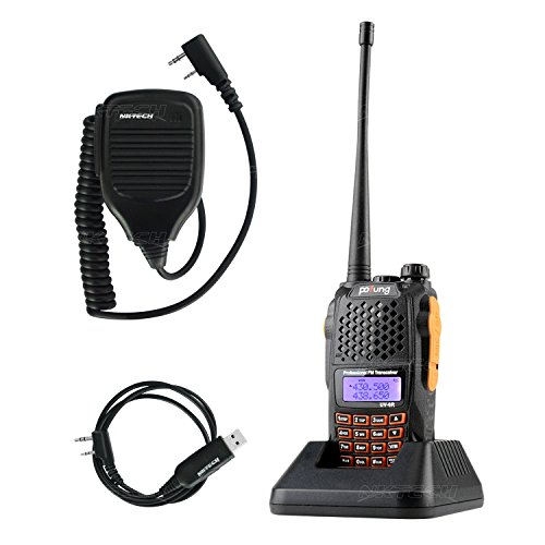 NKTECH Cable Mic and BaoFeng Pofung UV-6R VHF/UHF Dual Band 136-174/400-520MHz 5W Two Way Radio Transceiver Walkie Talkie 1800mAh 7.4V Li-ion Batteries Accessories Warranty