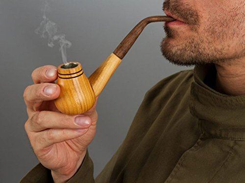 Handmade Wooden Decorative Tobacco Smoking Cigar Pipe Made of Natural Wood | Eco-Friendly & Ethnic Style Pipe-Portable Item Idea for Men by Madeheart