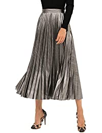 �� Women's Glittery Gold/Silver High-Waist Metallic Accordion Pleated Formal Party Maxi Skirt