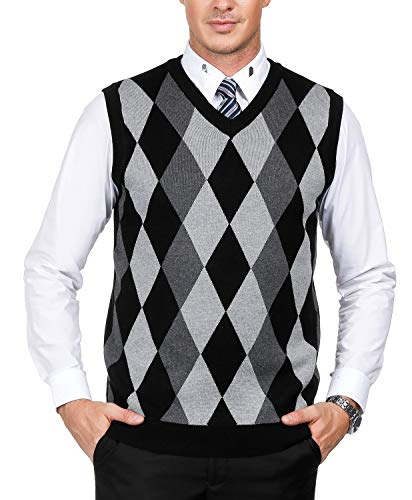 Men's Classic V-Neck Argyle Sweater Vest Lightweight Pullover Vest Size XL Black (Argyle Mens Sweater)