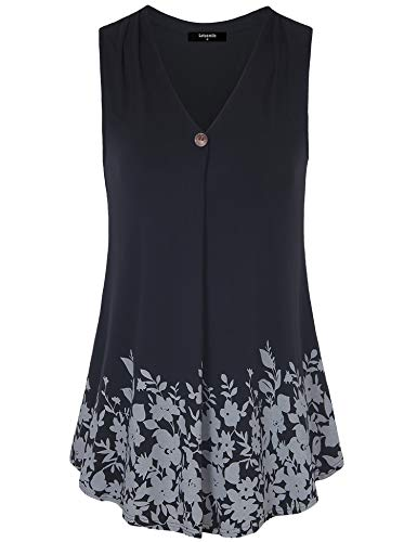 (Lotusmile Floral Print Blouse for Women, Ladies Summer Casual Cool Sleeveless Tunic Top Fit and Flare Floral Print Camisole Basic Flattering Tank Shirts with Wooden Button,Black M)