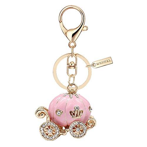 Bling Pink Princess Pumpkin Carriage Keychain with Pouch Bag (Pink Pumpkin)