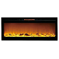 Sydney 50 Inch Log Recessed Wall Mounted Electric Fireplace by Gibson Flame
