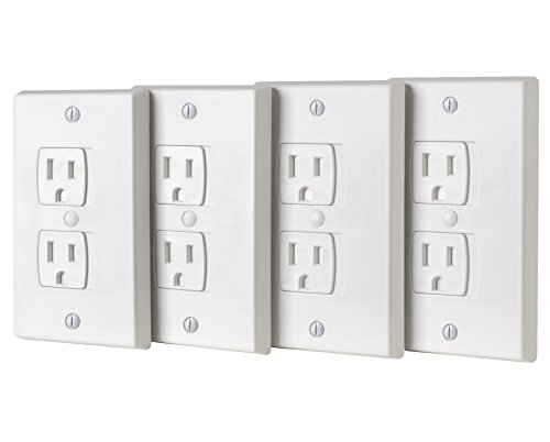 ZizHome Universal Electric Outlet Cover - Self Closing Baby Proofing Kit - Tamper Proof Child Safety Wall Socket Plug – Durable ABS Plastic - Best House Protection Kit (4 Pack) - Phone Outlet Switchplate