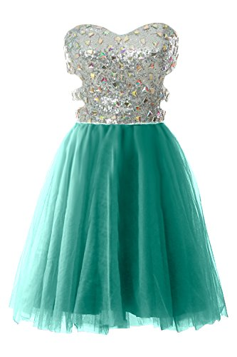MACloth Women Strapless Cutout Sequin Short Prom Evening Dress Formal Ball Gown (4, Turquoise) by MACloth