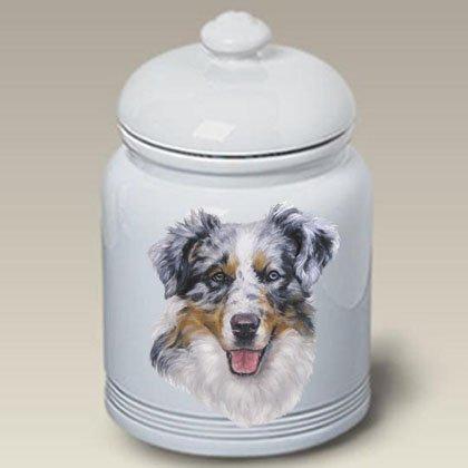 Australian Shepherd (Blue Merle): Ceramic Treat Jar 10 High #45049 by Best of Breed
