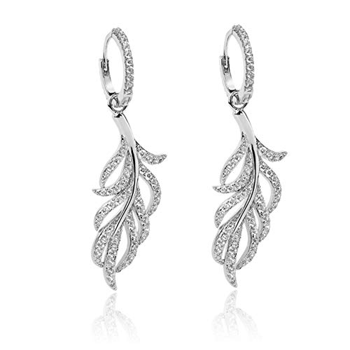 Thefrigg 925 Sterling Silver Earrings Gold Plated Feather Earrings Leaf Pendant Earrings Small Hoop Earrings for Women Girls
