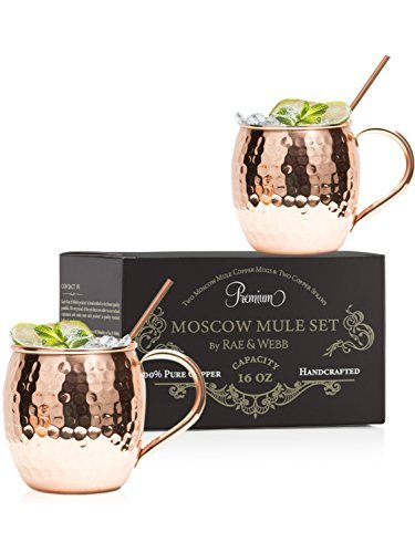 ARTISAN HAMMERED Moscow Mule Copper Mugs Set Of 2 With Straws - 100% Pure Solid Copper With 16 oz Capacity - You Deserve The Finest Bar Quality Cocktail Mugs - (Webb Glass Basket)