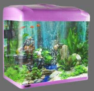 2019 new LED bluee light + white light Fish Tank Glass Aquarium Living Fish bowl Rain Water Curtain Fish Container 24 38cm   Q4, 24cm 5w