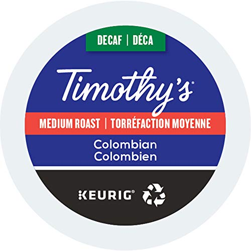 Timothy's, Colombian Decaf , Single-Serve Keurig K-Cup Pods, Medium Roast Coffee, 48 Count (2 Boxes of 24 Pods)