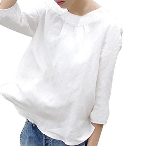 Spbamboo Women Casual Cotton Solid White 3/4 Sleeve Loose Blouse T-Shirt Top by Spbamboo