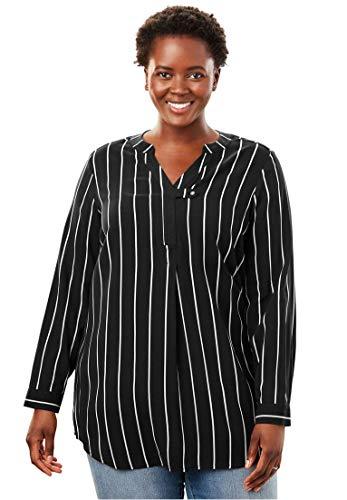 Woman Within Plus Size Tab-Front Long Sleeve Shirt - Black White Pencil Stripe, ()